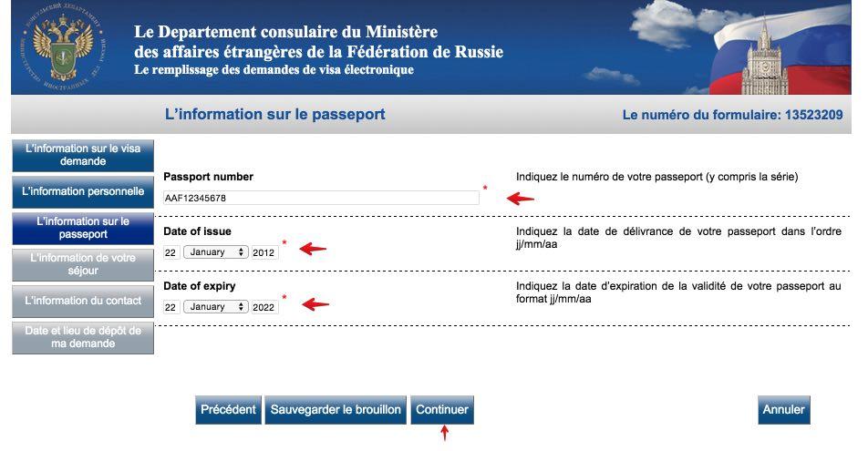 Le remplissage des demandes de visa électronique Russie 6
