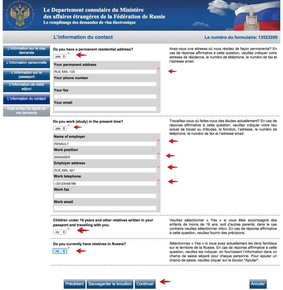 Le remplissage des demandes de visa électronique Russie 8