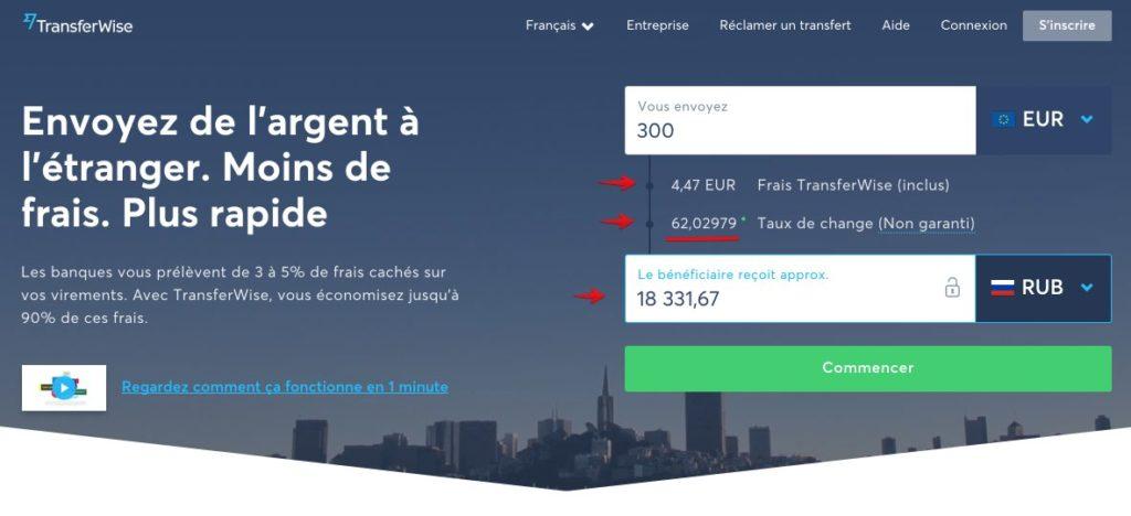 Transferez argent en ligne Russie avec TransferWise
