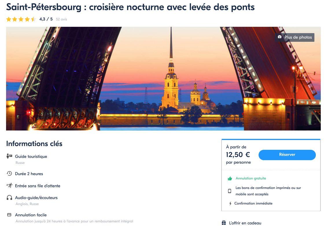 Saint-Petersbourg- Croisiere nocturne avec levee des ponts