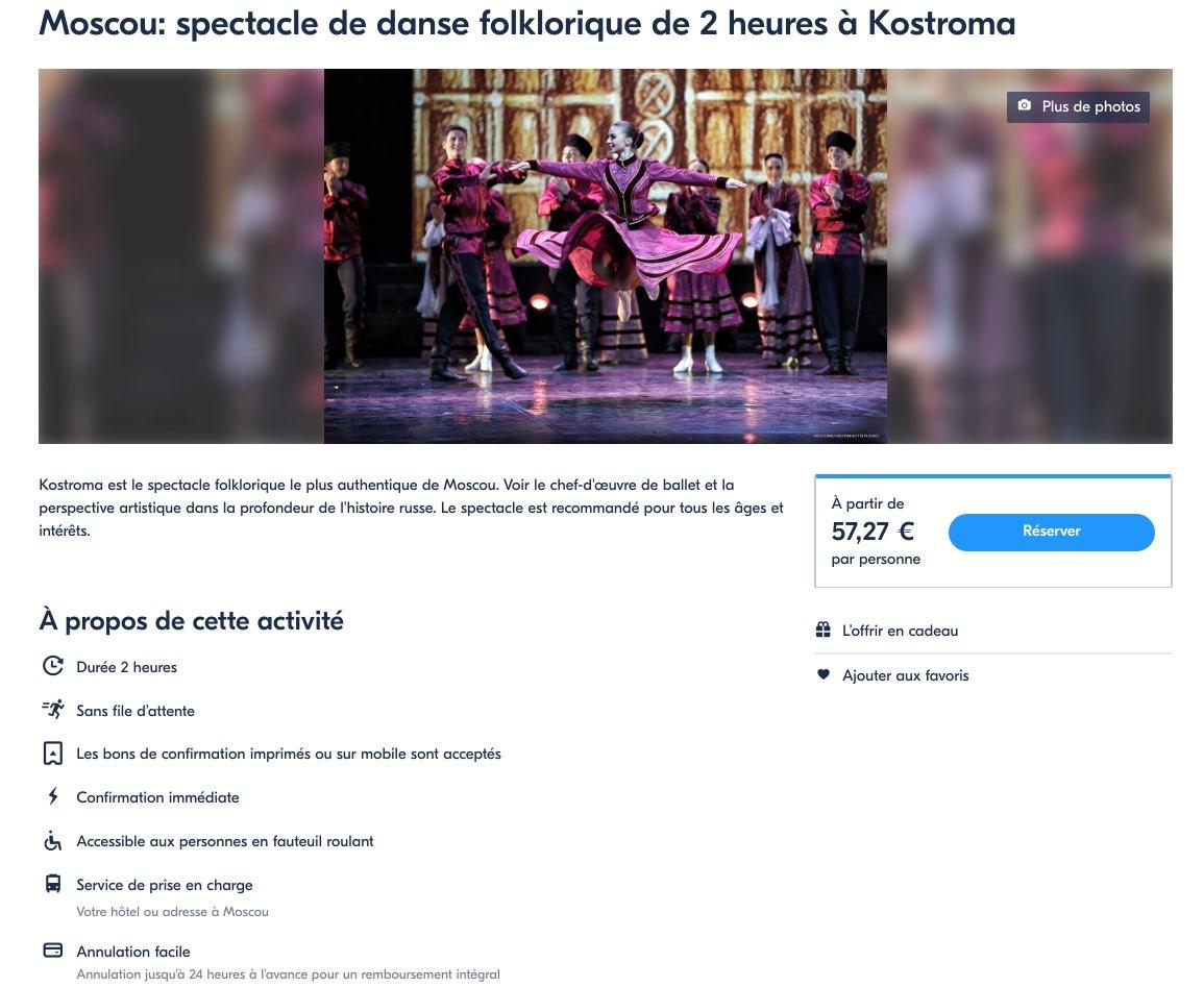 Moscou - Spectacle de danse folklorique Kostroma - Billets