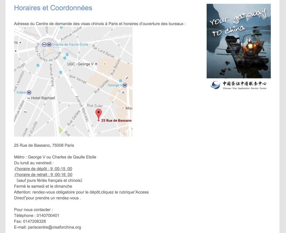Horaires et Coordonnees CVASC Paris