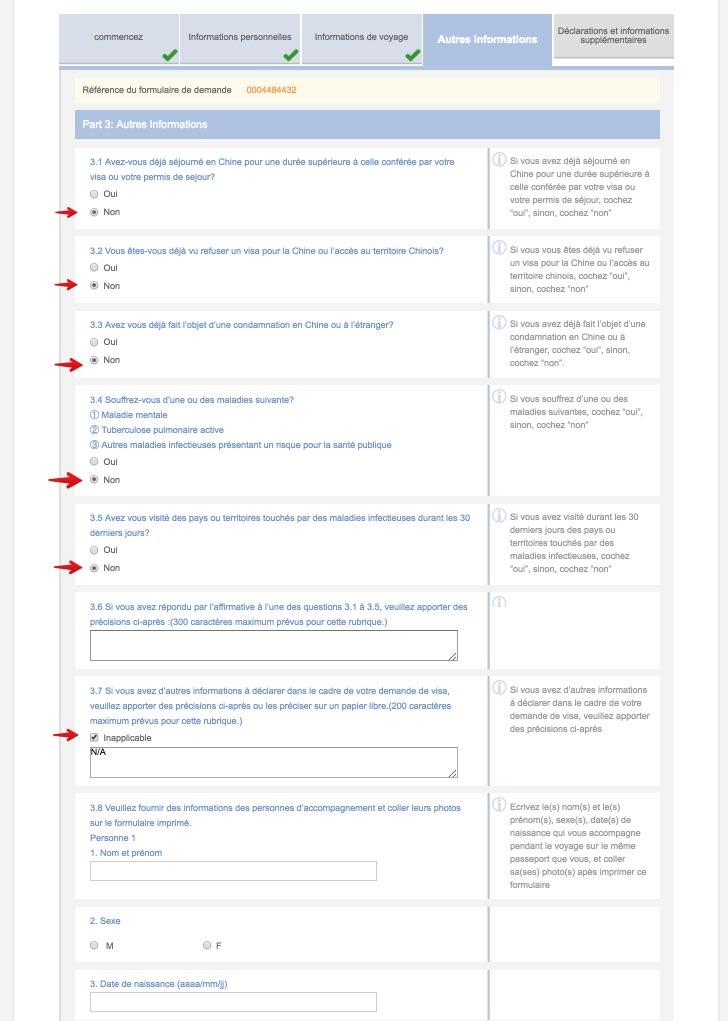 Remplissez le formulaire de demande de visa en Chine - Etape 10