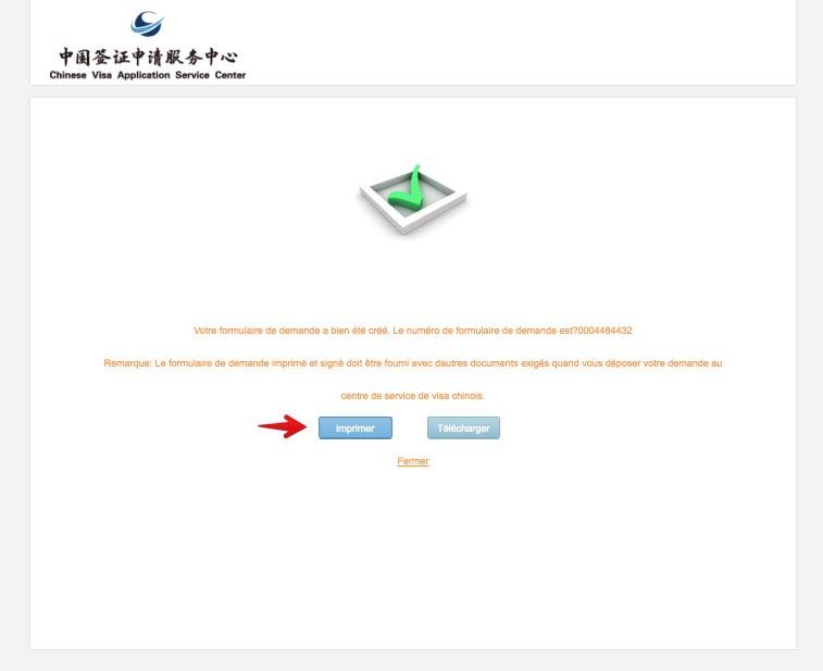Remplissez le formulaire de demande de visa en Chine - Etape 13