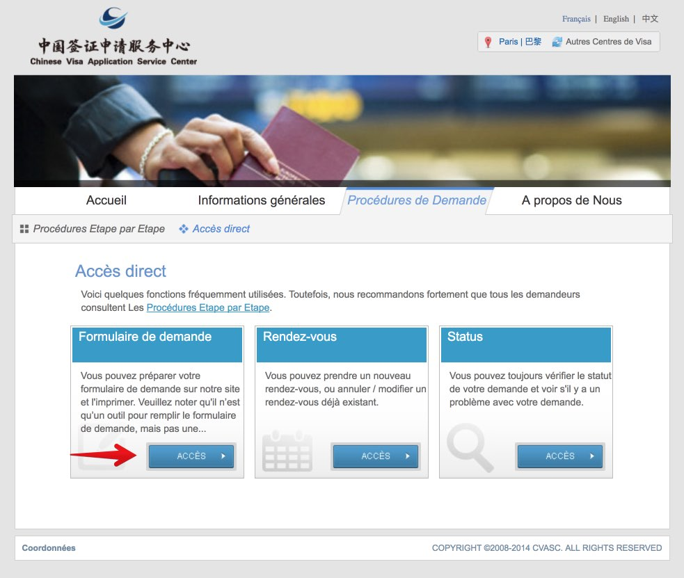 Remplissez le formulaire de demande de visa en Chine - Etape 2