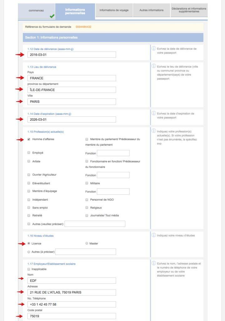 Remplissez le formulaire de demande de visa en Chine - Etape 6