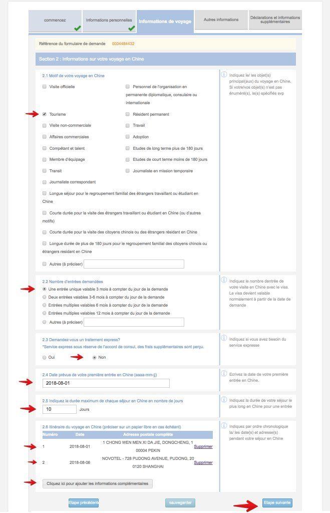 Remplissez le formulaire de demande de visa en Chine - Etape 8