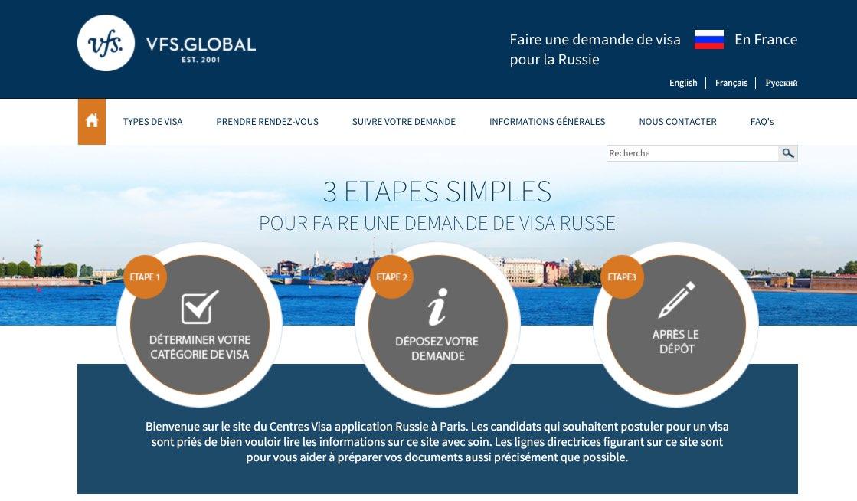 Informations sur les visas pour la Russie en France- Demande de visa pour la Russie - Centre Visa Application Russie