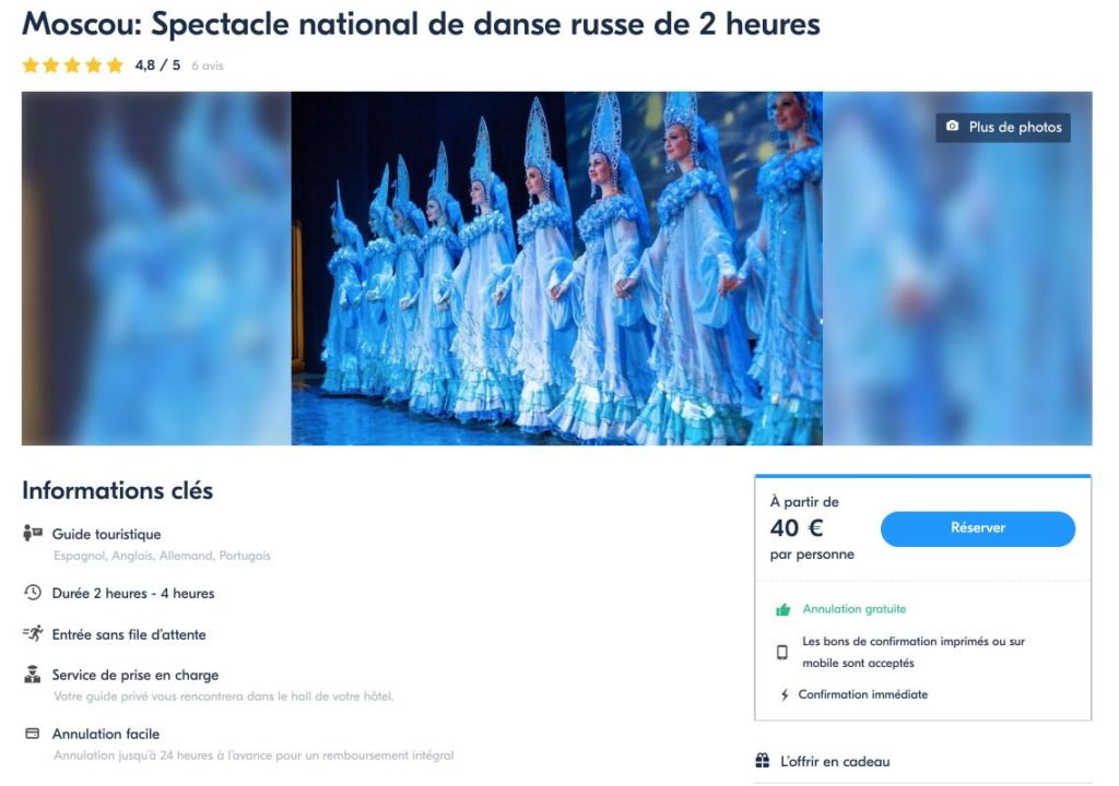 Moscou - Spectacle national de danse russe de 2 heures Kostroma