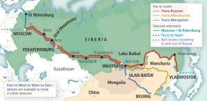 Carte de la route transsiberienne ou trans-mongole