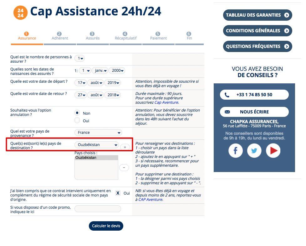 Souscrire Cap Assistance 24-24 - Chapka Assurances - Visa en Ouzbekistan