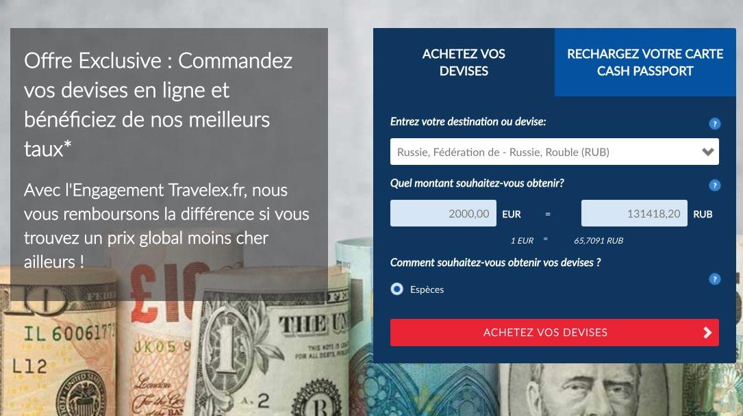 Change de Devises en ligne roubles - Travelex