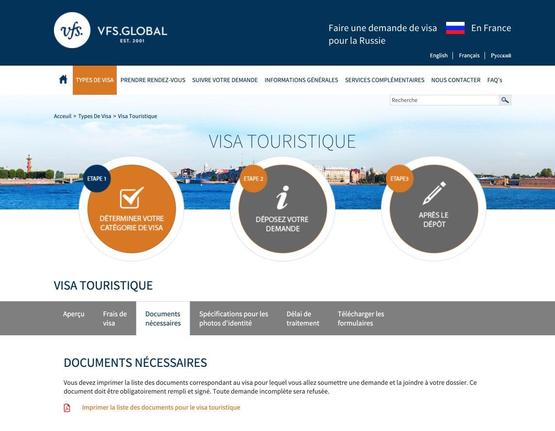 Liste des documents pour le visa touristique - Visas pour la Russie en France