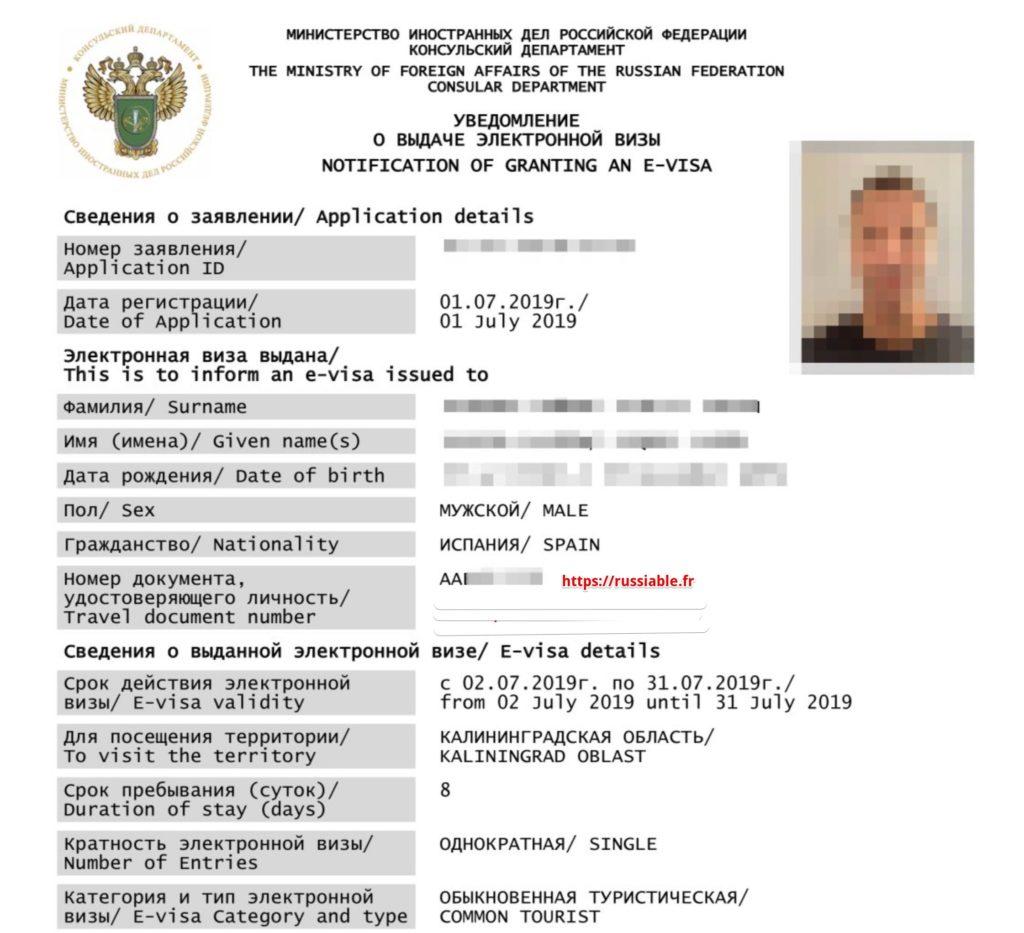 Exemple de visa electronique en Russie - Image de lhotel