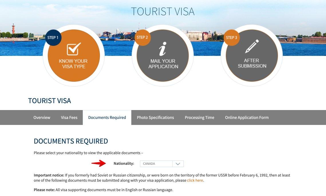 Liste verification visa pour Russie au Canada 1
