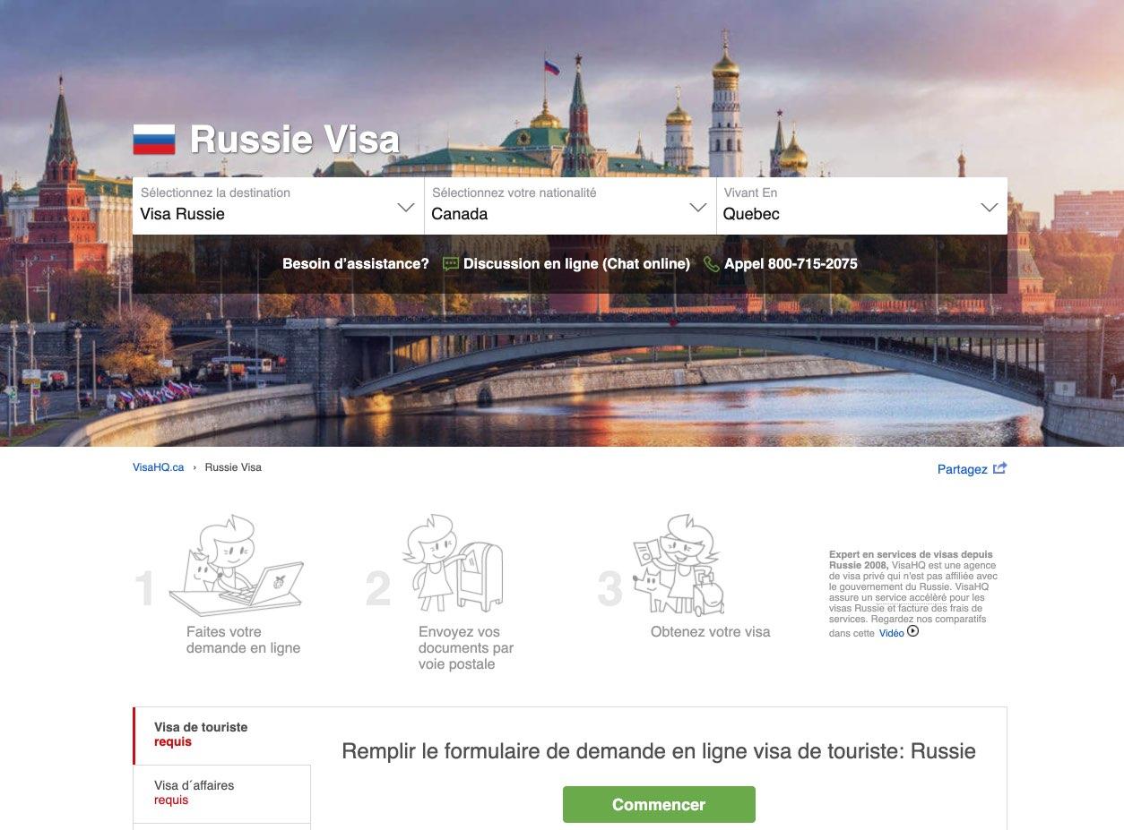Russie Visa – Demande des Exigences – les residents de Canada - VisaHQ