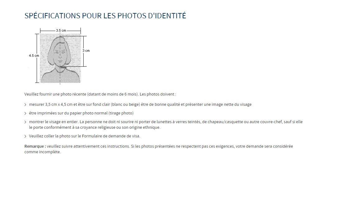 Specifications pour les photos identite Visa russe au Maroc