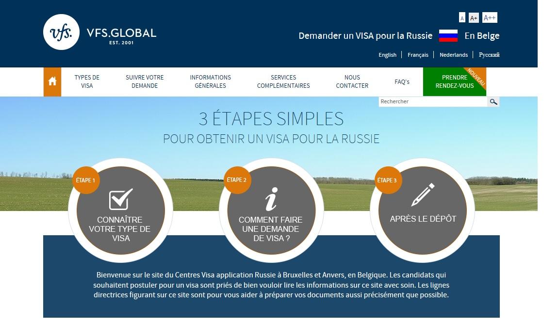 Centres Visa application Russie en Belgique